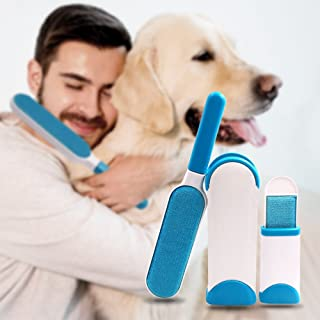 Pet Hair Lint Remover for Clothes; Carpets, Reusable Cleaner Brushes Remover Dog and Cat Fur with Self-Cleaning Base, Included Travel Size