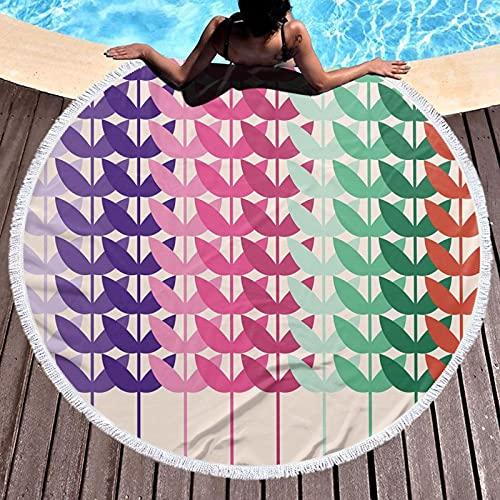 Tapiz de playa redondo con diseño hippy, toalla de playa, patrón de campo de trigo vivo ramas botánicas naturaleza agricultura niños hojas imagen, estera de yoga redonda playa mantón redondo