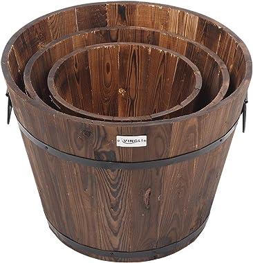 VINGLI 3 pcs Wooden Planter Barrel Set, Real Wood Indoor/Outdoor Flower Pot w/Drainage Holes, Different Sizes, Large Garden C