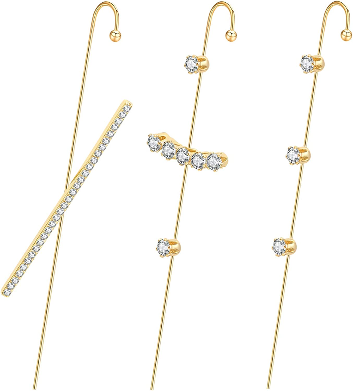 Ear Wrap Earrings - Elegant Crystal Craved Gold-tone Crawler Hook Earrings Classic Rhinestone Piercing Ear Cuff for Women Girls Wedding Delicate Wire Needle Studs Earrings