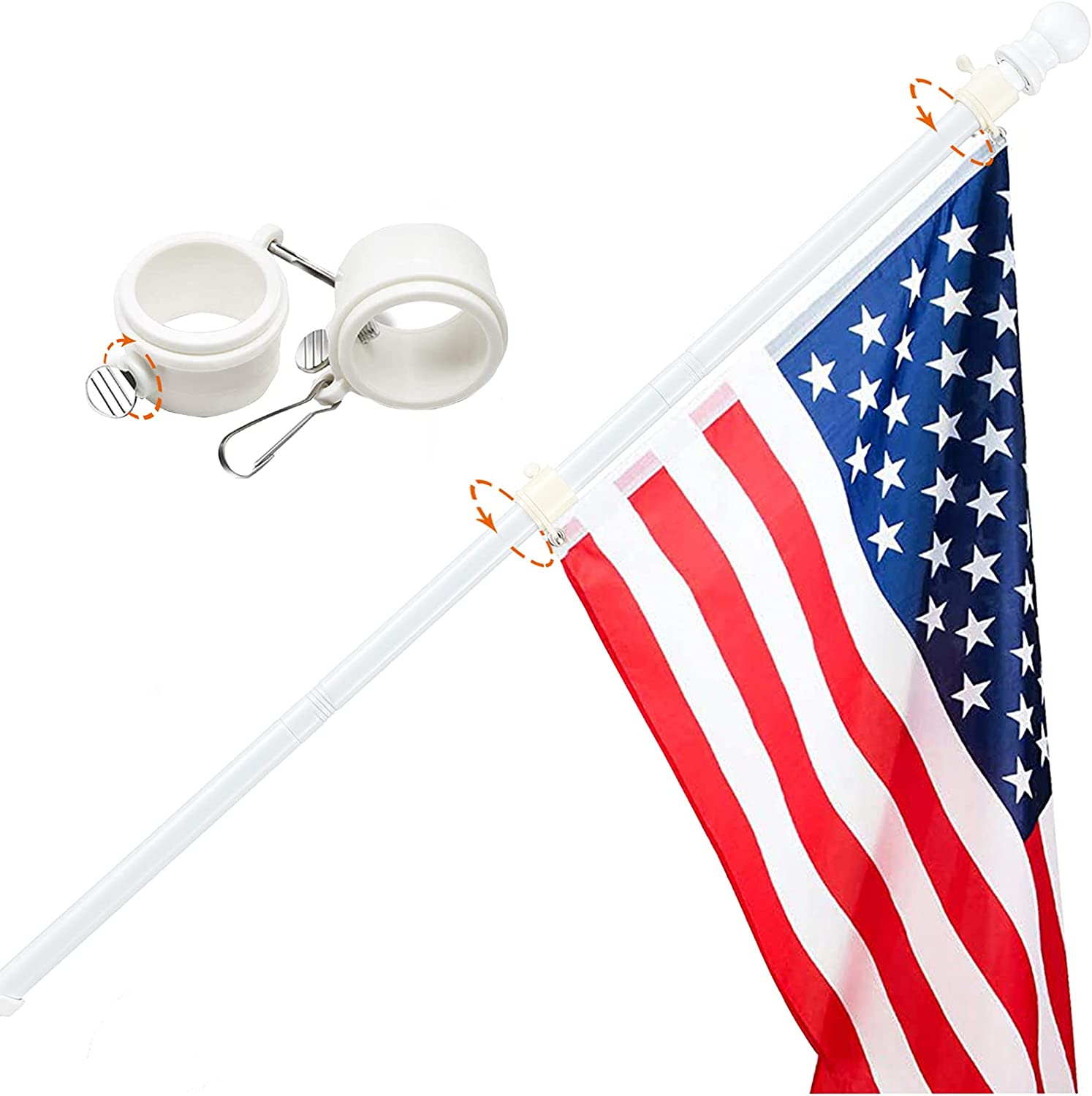Harrms Flag Pole 5 FT Japan's largest assortment Max 78% OFF Heavy Steel Without Duty Br Kit White