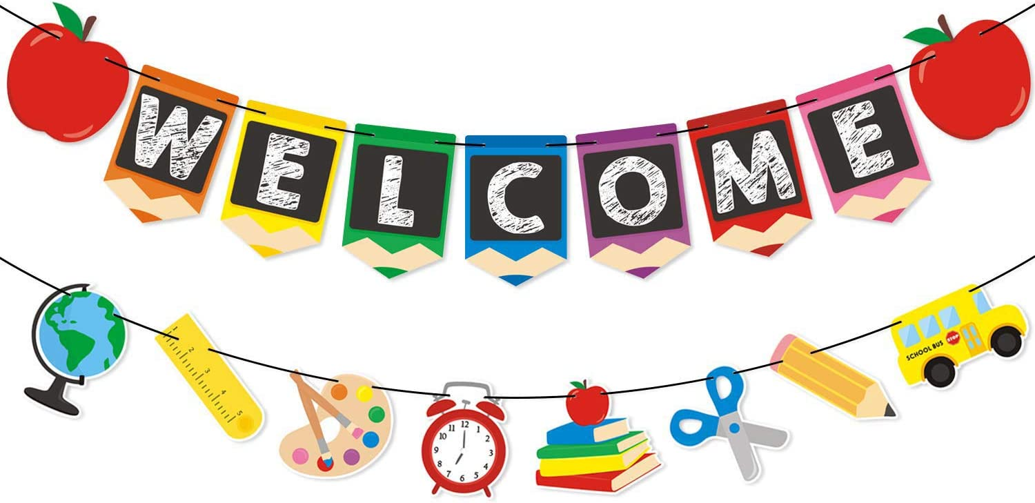 Back to School Party Supplies Welcome Banner- Teacher Banner - Classroom  Decor - Office Decor - Apple Pencil Stationery Garland New Grade of Class  Pennant Props Decoration Supplies : Amazon.co.uk: Toys & Games