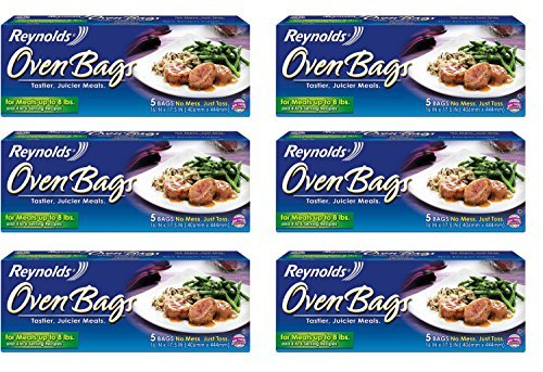 Reynolds B Oven Cooking Large Size for Meats & Poultry (up to 8-Pounds), 5 Count Boxes (Pack of 6) 30 Bags Total