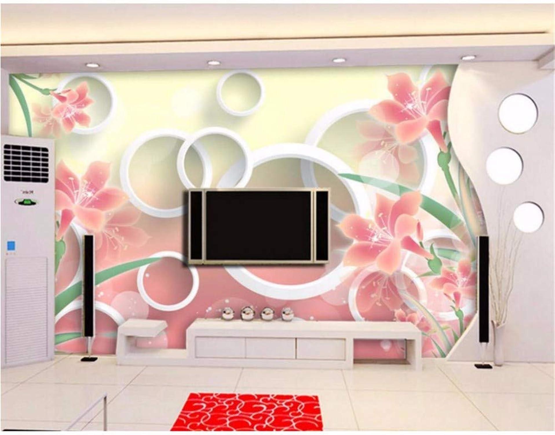 tienda de venta en línea Weaeo Personalice El Papel Tapiz 3D Moda Lirio De De De La Flor Papel Tapiz Mural Para El Restaurante Cafe Background Wall Decor Circle Tv Background Wall-200X140Cm  barato