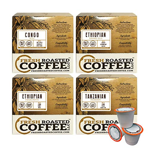 Fresh Roasted Coffee LLC, African Varietal Coffee Pod Variety Pack, Compatible with 1.0 / 2.0 Single-Serve Brewers, 72 Count
