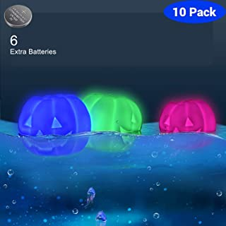 LOFTEK Floating Pool Lights 10 Packs, Led Ball Light Halloween Decorations Pumpkin Light, Color Changing Led Night Light, Waterproof Glowing Ball RGB Light for Swimming Pool, Party, Yard,Lawn