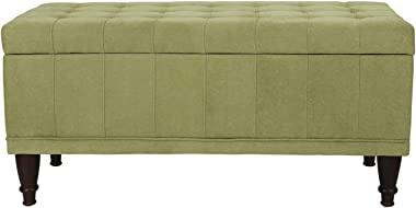 Decent Home Storage Ottoman Bench Rectangular Foot Rest Stool for Livingroom Bedroom (Green)