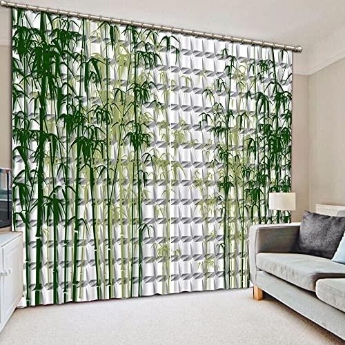 Minyose 3D Curtain Home Bedroom Decoration Lattice Background Bamboo Curtain Motorized Decorative Door Curtain 2 Panel/Set (W) 55x(H) 63 inch