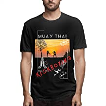 G Fly Muay Thai Thailand Kickboxing Sunshine Type Men's Printing Tiger Muay Thai Black Tee Shirt