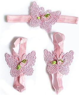 Hacoly, Juego de 3 diademas de encaje para bebé, con flores, cinta de fotografía, accesorios para la cabeza, para niñas, calcetines para bebé, calcetines para bautizo, sandalias, color rosa