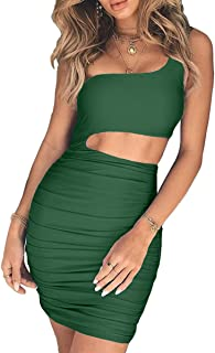 Women's Sexy One Shoulder Sleeveless Cutout Ruched Bodycon Mini Club Dress