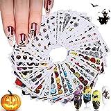 Kalolary 48 Fogli Halloween Adesivi Unghie Decalcomania Trasferimento ad Acqua 3D Nail Stickers Water Decals Nails Fai da Te Arte Unghie Autoadesivi Nail Art Adesivi