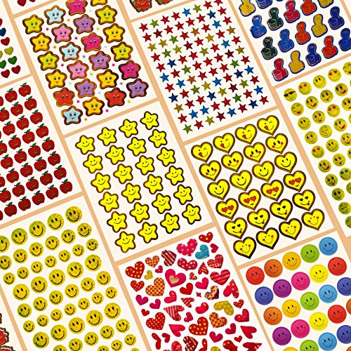 6120 Reward Stickers for Teachers Mega Value Pack,Teacher Stickers for Kids.Incentive Stickers for Teacher Supplies Classroom Supplies Including Smiley Face, Stars and Emoji for Teachers Reward