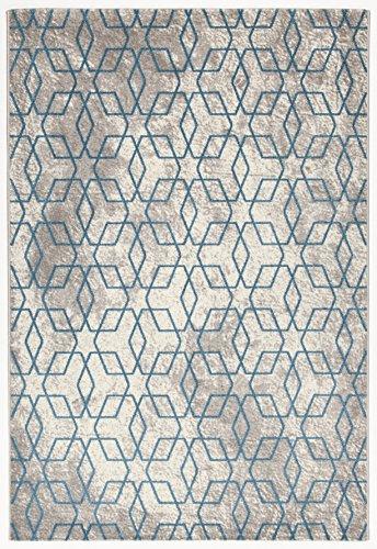 Accordeco 25583–Alfombra Soho Azul 36% Yute 53% PP 5% látex 4% PES 2% CO–160x 230cm