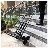 YBSY Carretilla de Mano para Subir escaleras/Carro Plegable para Escalar con asa Ajustable, 6 Ruedas y 2 respaldos para escaleras, Terreno Plano