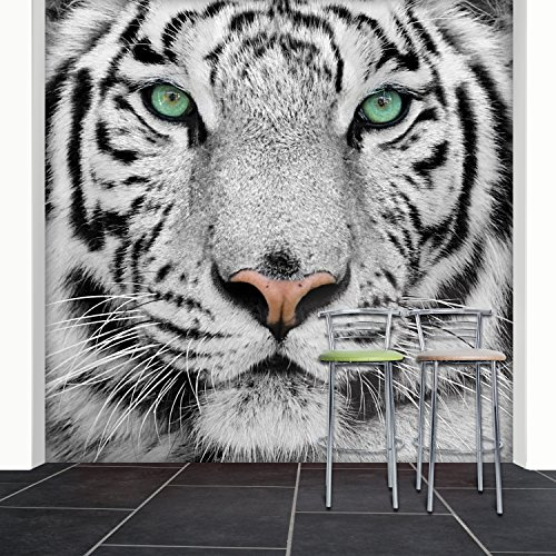 Fotobehang White Tiger 274x254 cm behang leeuw roofkat zwart wit deco.deals