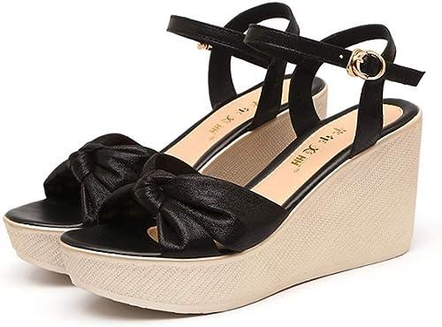 Bride à La Cheville Sandales Bow Bow Sandales Compensées Chaussures D'été Pour Femmes à Talons Hauts  juste l'acheter