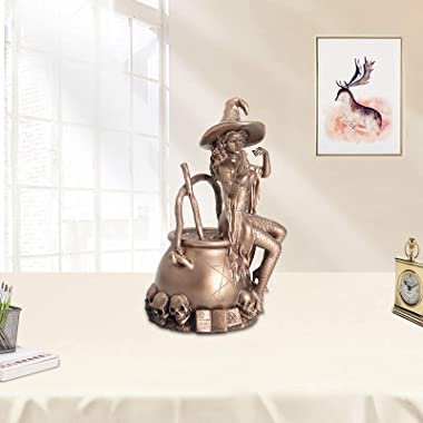 ZSQZJJ Alchemy Witch Sculpture Nordic Wizard Statue Home Decor Resin Cold Cast Copper Crafts Living Room Ornaments Gifts