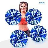 AUHOTA 4 Stück Metallfolie Cheerleading Pom Poms, Cheerleader Pompons Handblumen zum Sport Cheers...