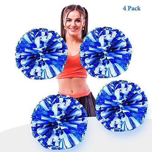 AUHOTA 4 Stück Metallfolie Cheerleading Pom Poms, Cheerleader Pompons Handblumen zum Sport Cheers Ball Dance Kostüm Nacht Party Team Spirit (6 Zoll) (Blau/Weiss)