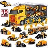 Set de Juguetes 19 en 1, Camión de Construcción con Ingeniero, Mini Camión y Coche modelados al vacío, Juego de Vehículos de Doble Lado para Niños y Niñas en Cumpleaños, Navidad, Fiestas, Regalos