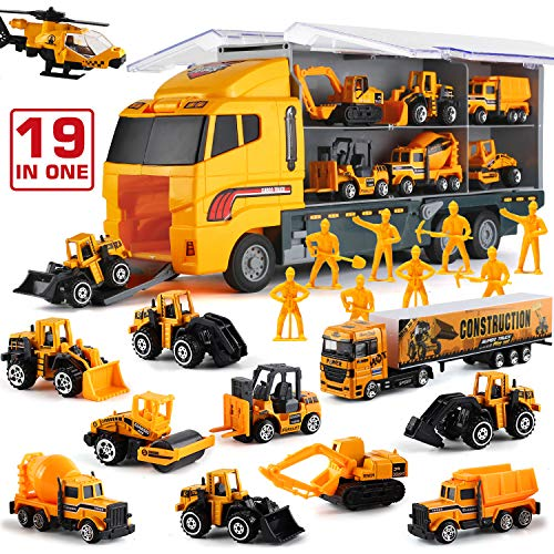 19 in 1 Construction Truck with Engineering Worker Toy Set, Mini Die-Cast Engine...