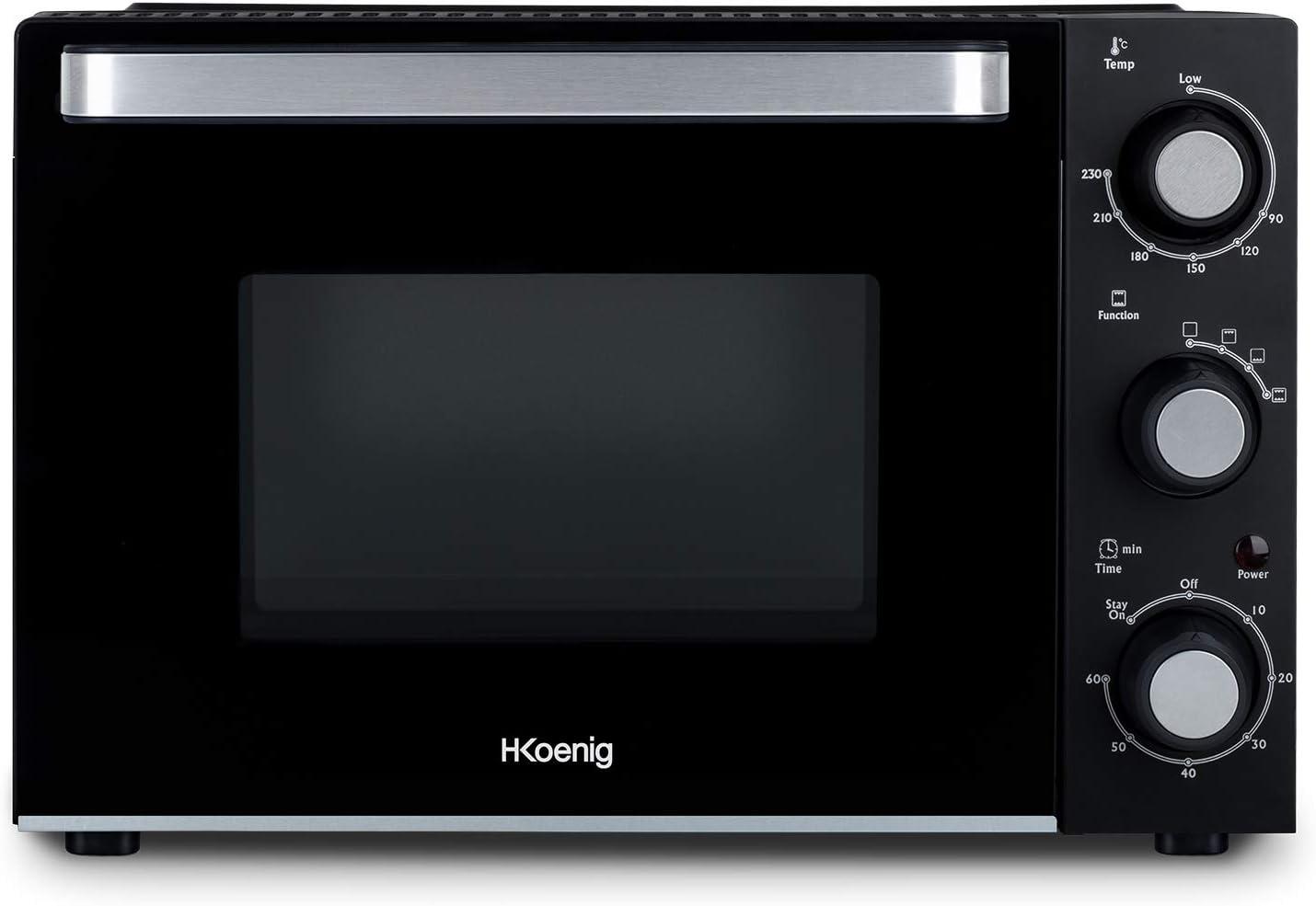 H.Koenig FO20 Horno Eléctrico Sobremesa, Capacidad de 20 litros, 1400 W, 4 Modos de Cocción, Luz interior, Temperatura hasta 230ºC, Tiempo hasta 60 Mins, Acero Inoxidable, Negro, Color