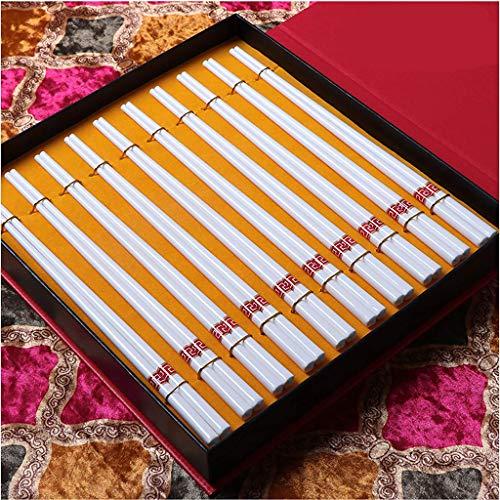 ZHOUXIAO Caja De Regalo De Gafas De Regalo De Porcelana Reutilizable De Primera Calidad, 10 Pares De Palillos Chinos De China, China De Lavavajillas, Palillos Seguros De 9,4 O