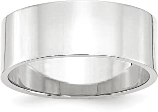 14k White Gold 8mm Flat Wedding Ring Band Size 10 Classic Fine Jewelry For Women