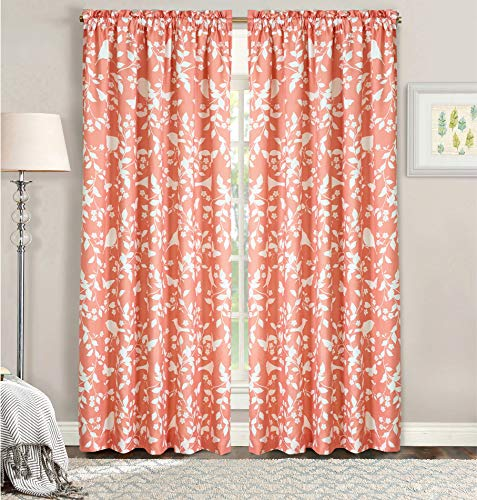 """Home Soft Things Serenta Birdsong Curtain Set, Coral, 60"""" x 84"""""""