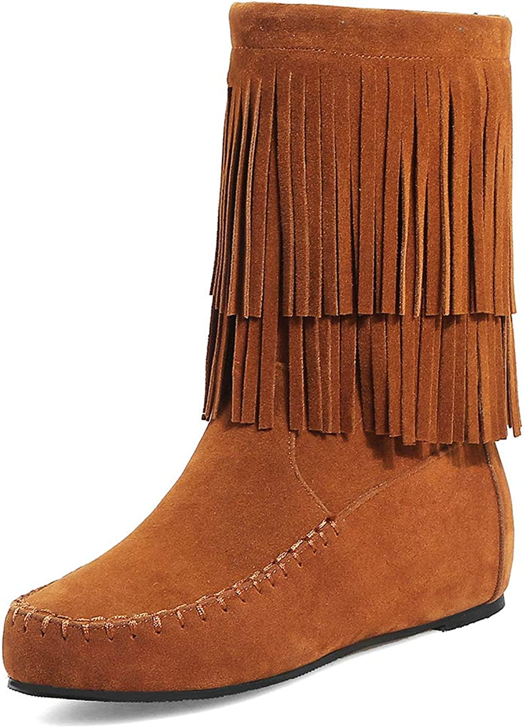 TWGDH Bohemian Ankle Boots Women's Flat Booties Suede Fringed Winter Snow Boots shoes