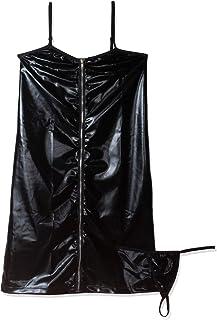 فستان على شكل قميص نوم بقبة منخفضة وقصّة ضيقة على الجسم وسحّاب طولي ولون اسود للنساء (23417)