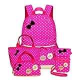Girls Backpacks and Lunch Bag for School Book Bag and Handbag Purse Polka Dots (4Pcs Rose)