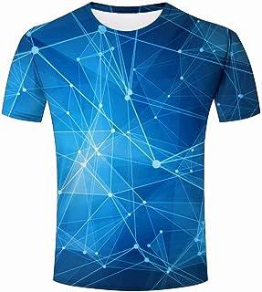 1c299e0c3c6bc ALSTONXIN T-Shirts pour Hommes Diamant Bleu géométrique Imprimé T-Shirts  Chemise Col Rond