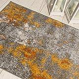 Carpeto Rugs Modern Läufer Flur Teppich Abstrakt Muster - Kurzflor Teppichläufer für Flur, Küche, Schlafzimmer, Esszimmer - Flurläufer in Versch. Größen und Farben - Gelb Gold 70 x 250 cm - 6