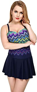 Women's One Piece Swimsuit Plus Size Retro Printed Swimdress Swimwear Cover up Swimsuit One Piece Beachwear High Waisted Bathing Suits Soft and Comfortable Without Irritation
