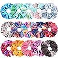 Tie Dye Velvet Scrunchies for Hair, Funtopia 15 Pcs Velvet Hair Scrunchies in Gradient Color, Soft Hair Bands Rainbow Scrunchies for Women and Girls