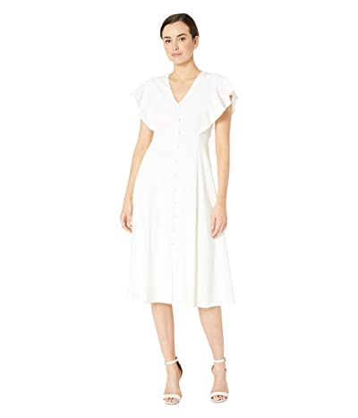 Calvin Klein Flutter Sleeve A-Line Dress w/ Front Button (White) Women