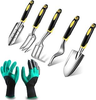 Rorchio Outils de Jardinage, 6 Pièces Kit Outillage de Jardin, Transplantoir Fourche Binette Sarcloir Pelle et Gants avec ...