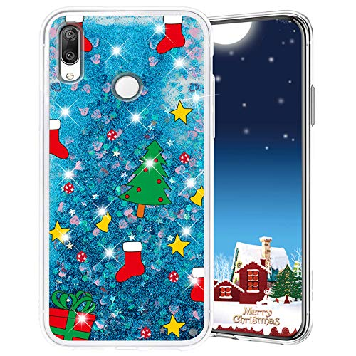 Misstars Weihnachten Handyhülle für Huawei Honor 10 Lite/P Smart 2019, 3D Kreativ Glitzer Flüssig Transparent Weich Silikon TPU Bumper mit Weihnachtsbaum Muster Design Anti-kratzt Schutzhülle