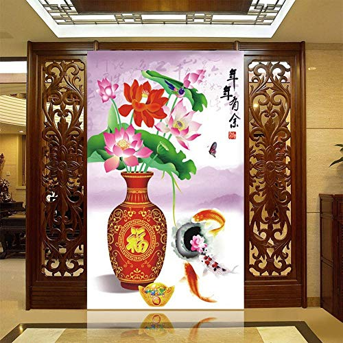 Diamant Schilderij Verf Door Aantal Kits Volledige Boor Strass Borduren Grote Afbeeldingen Cross Stitch Voor Thuis Muurdecoratie DIY 5D Arts Craft Lotus Vaas Vis 54X76Cm
