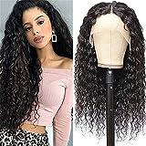 HTDYLHH Belles perruques, Larga y rizada onda de agua t-pieza de encaje pelucas frontales del cabello humano Plaquemado con pelo for bebés for mujeres en blanco y negro 150% densidad for desgaste natu