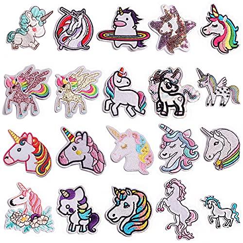 yeemeen 20 Pezzi Toppe Termoadesive per Bambini, Unicorno Arcobaleno Toppe, Vestiti Toppa Ricamata, DIY Vestiti Patch Adesivi, Patch Toppa Ricamate Applicazioni Ricamata da Cucire Adesive