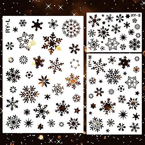 Volwco 3-teiliges Schneeflocken-Schablonen-Set,Weihnachtsdekoration,Weihnachts-Vorlagen,mehr als 30 Schneeflocken-Muster,Sprühschablone zum Malen auf Holz,Basteln von Karten, Wandkunst,Heimdekoration