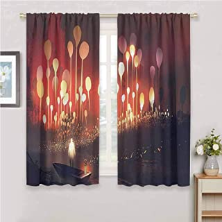 zojihouse Fantasy Decor Night Scenery of Enchanted Forest with Trees and Man in Boat Graphic Grommet Top Drapes Ruby Yellow Living Room Drapes W72xL63