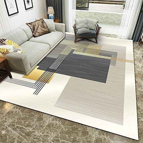 Kunsen alfombras para terrazas Decoracion Infantil La Alfombra de Dormitorio es Pila Corta y Beige y Gris sin Cabello y Resistente al Desgaste. Decoracion Comedor 200X250CM 6ft 6.7' X8ft 2.4'