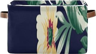 Paniers de rangement Boîte à étagères pour organisateur de placard à fleurs vintage avec poignée Grand bac de rangement Pa...