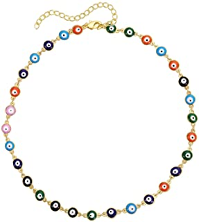 Dcfywl731 Evil Eye Choker Pendant Necklace for Women Dainty Cute Handmade Tiny Bead Necklace for Teen Girls