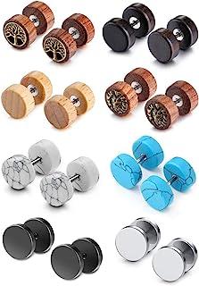 Jovivi 8 Pairs 18G/16G Wood Faux Gauges Earrings for Men Women Punk Stainless Steel Turquoise Barbell Stud Earrings Fake F...