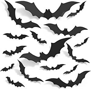 Large Bats Wall Decor, Korlon 120 Pcs 3D Wall Bats Halloween Wall Stickers, Bat Decorations Halloween 4 Sizes PVC Wall Bats Decor Party Supplies